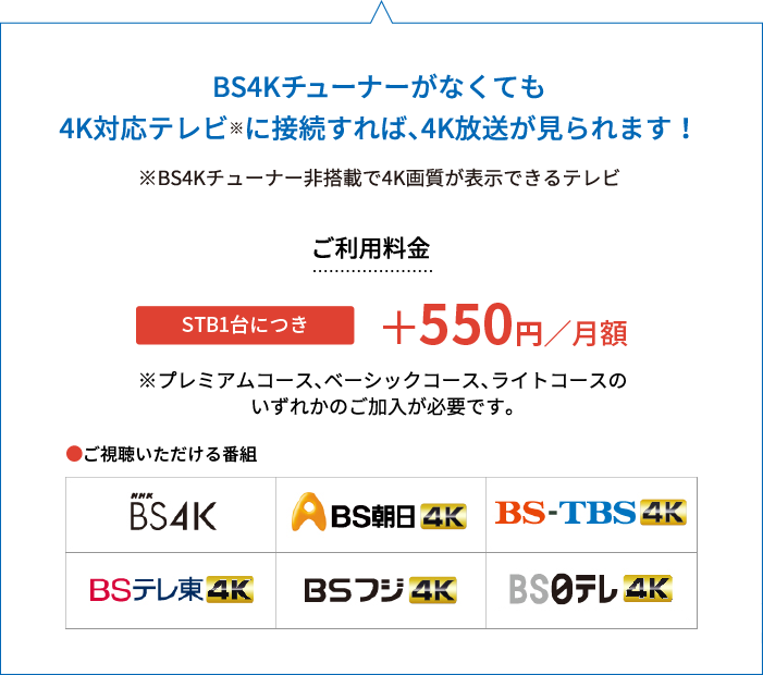 BS4Kチューナーがなくても4K対応テレビに接続すれば、4K放送が見られます!