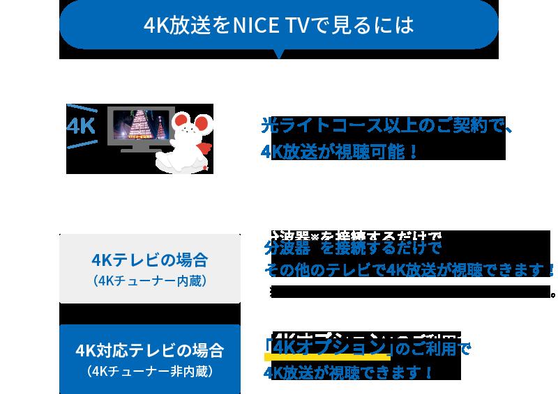 4K放送をNICE TVで見るには光ライトコース以上のご契約で視聴可能!